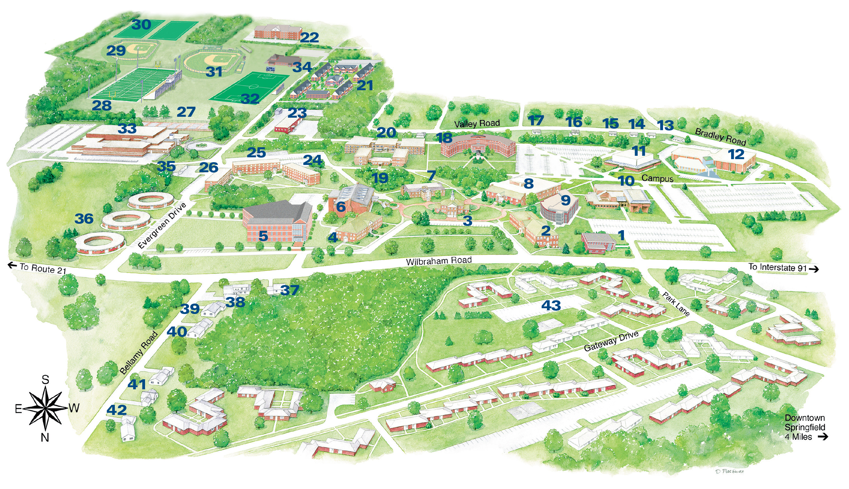 Holyoke Community College Campus Map.Map Of Springfield College Bnhspine Com