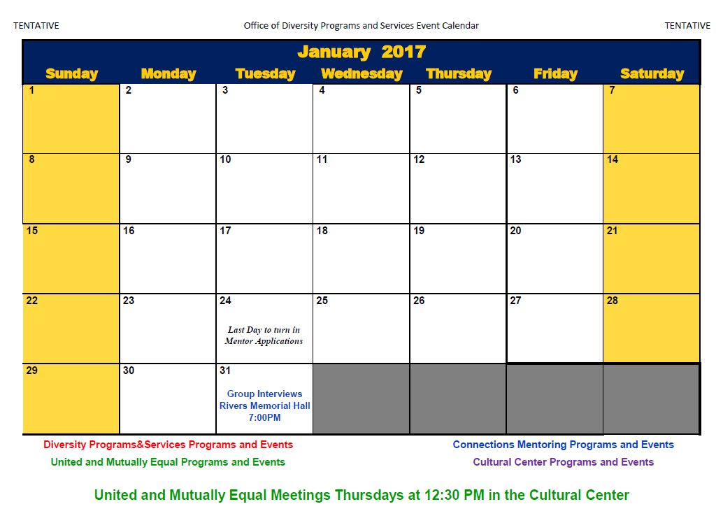 Monthly Calendar Of Events : Calendar of events