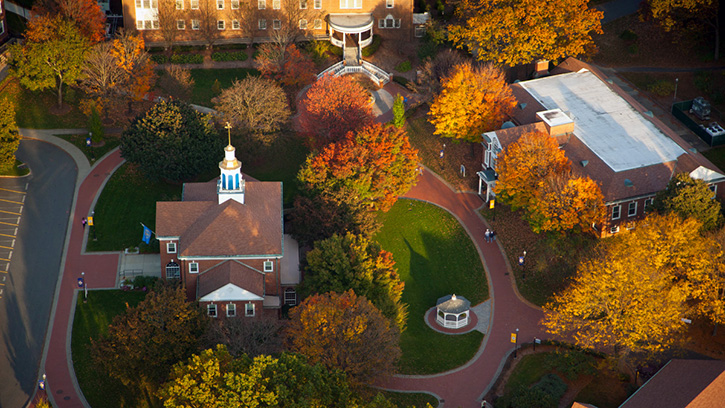 Aerial shot of campus in the fall.