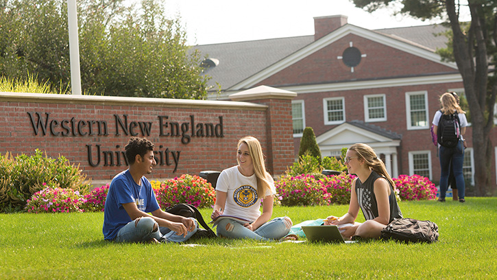 Students sitting on lawn by WNE sign.