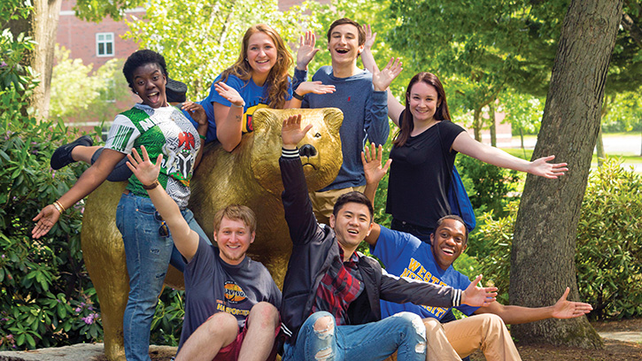 Students around the Golden Bear.