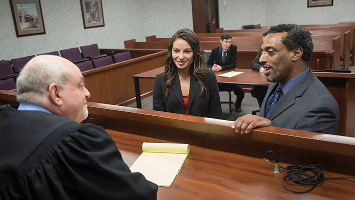 Law students in moot court.
