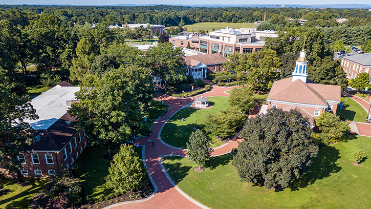 Drone shot of the middle of campus.